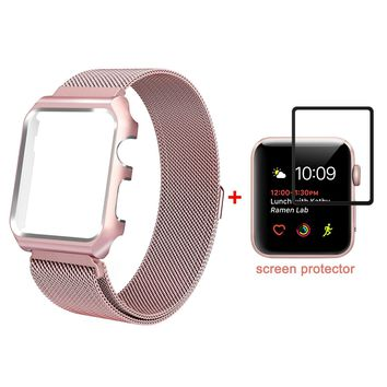 ALNBO for Apple Watch Band Replacement Wrist Band with Metal Protective Case for Apple Watch Series 3 Series 2 Series 1 Sport&Edition (Rose gold with screen protector 42mm)