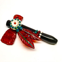 Sacred Blade Tomahawk Cillum Pipe Pendant with opal, feathers and peyote dots in black jasper and turquoise