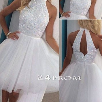 White A-line Sequin Tulle Short Prom Dress, Homecoming Dresses