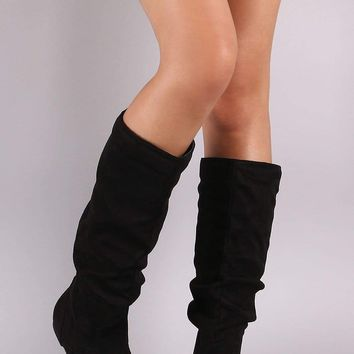 Wild Diva Lounge Slouchy Suede Knee High Flat Boots