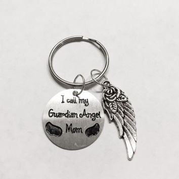 Guardian Angel Mom Mother In Heaven Wing In Memory Keychain