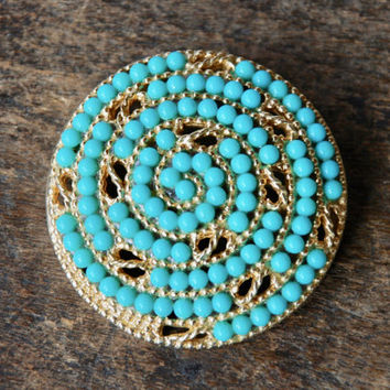 Vintage Faux Persian Turquoise Brooch Swirled Cabochon Textured Gold Tone Dome Mad Men Mid Century 1960's // Vintage Costume Jewelry