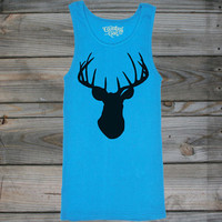 Juniors Country Girl ® Deer Head Black W/Nape Tank