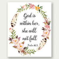 Psalm 46:5, God Is Within Her She Will Not Fall, Bible Verse Print, Bible Verse Art, Bible Nursery Art, Christian Art, Scripture Printable