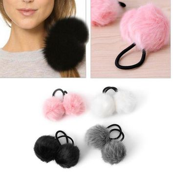 DCCKWJ7 Lovely Faux Rabbit Fur Pompom Ball Hair Scrunchie Elastic Ponytail Holder Hair Band