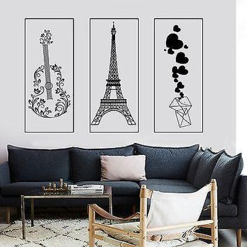 Wall Mural Paris Eiffel Tower Envelope With Hearts Romantic Flower Guitar Unique Gift z2860