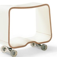 Wooden Stool with Casters Double you Collection by Bulo | design Hannes Wettstein