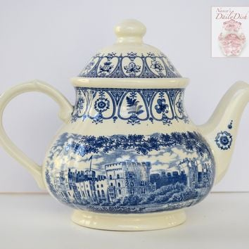 Blue Toile Ironstone Transferware Tea Pot Teapot Windsor Castle Leaf Thistle Tudor Rose