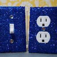 SET Chunky Royal BLUE Glitter Swichplate Outlet Covers ALL Styles