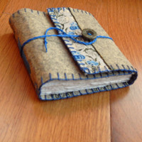 Embroidered Felt Journal - Yellow and Blue Lilies - Gifts for Women