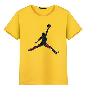 Jordan New fashion people print couple top t-shirt Yellow