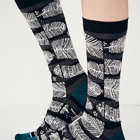 Stance Womens Feather Crew Sock - Black / White One