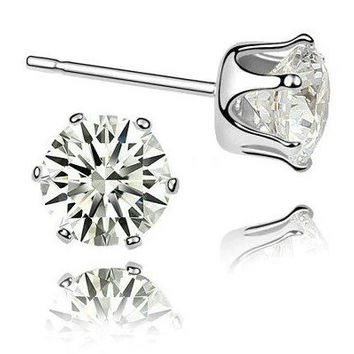 Round Crystal Zirconia Stud Earrings - 4 size choices