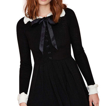 Preppy Style Peter Pan Collar Long Sleeve Color Block Women's Sweater Dress