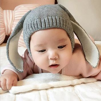 Autumn winter children's hat child knitted hat adorable bunny rabbit long ear baby hat beanie cap photo props