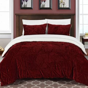 Chic Home 3 Piece Josepha Pinch Pleated Ruffled & Pintuck Sherpa Lined Comforter Set, Queen, Burgundy