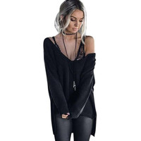 Off Shoulder Long Sleeve Loose Knit Sweater