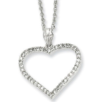 18 Inch Rhodium Plated Hollow Heart CZ Necklace by Kelly Waters