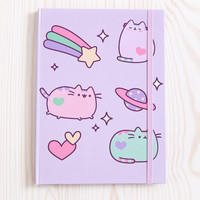 Pastel Pusheen flocked journal
