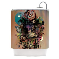 "Mat Miller ""Doom and Bloom"" Dark Rose Shower Curtain"