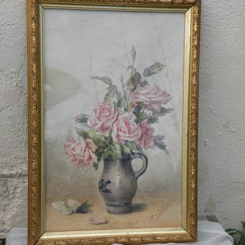 SALE-15% OFF Original French vintage still-life watercolour painting of roses in an Alsace jug, original vintage art original French paintin