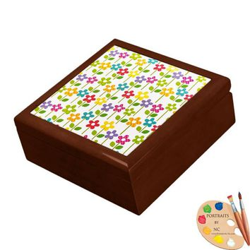 Keepsake/Jewelry Box - Colorful Flowers  Ceramic Tile Lid
