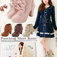 Princess style ribbon decoration scallop short boots
