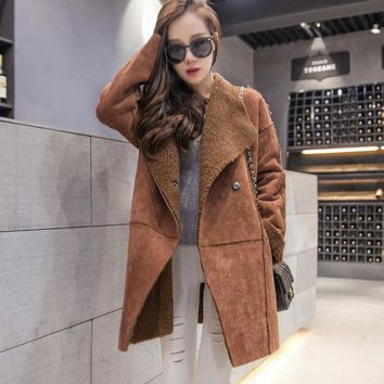 Korean winter camel deerskin long big size thick cotton coat solid color warm female lamb hair elegant oversize parkas MZ1084