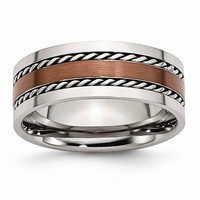Men's Stainless Steel Chocolate IP-plated Polished Wedding Band Ring