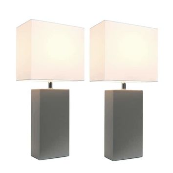 Elegant Designs Grey/White Leather Modern Table Lamps (Set of 2) | Overstock.com Shopping - The Best Deals on Lamp Sets