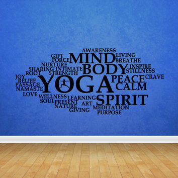 Wall decal decor decals sticker art design vinyl yoga studio inscription mind spirit calm body peace training namaste pose hall (m1135)
