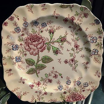 2 c1930 Rare Johnson Brothers Square Scalloped Salad Plate in Rose Chintz Pink