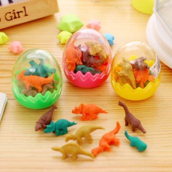 F39 Creative Kawaii Cute 3D Dinosaur Egg Shaped Mini Pencil Eraser Stationery School Rubbers Office Supplies Student Rewarding