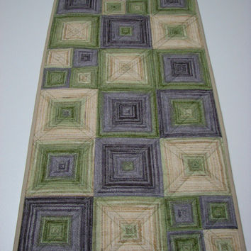 Quilted Table Runner , Modern Squares , Purple and Green Ombre