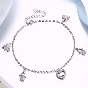 Sterling Silver Hamsa Evil Eye Protection Bracelet