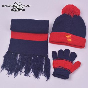 BINGYUANHAOXUAN Spring Autumn Winter Cap Boys Girls Knitted Hat Scarf and Gloves Set Children Knitted Hat Scarf Gloves One