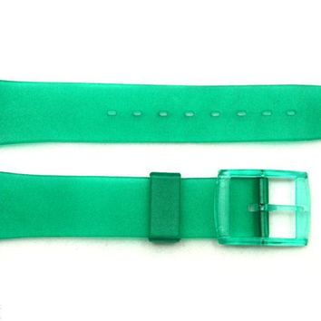 17mm Men's Translucent Frosted Green Replacement Watch Band fits SWATCH watches
