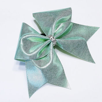 Cheer bow, light mint green cheer bow, cheerleading bow, cheerleader bow, cheerbow, softball bow, pop warner cheer bow, dance bow, big bow