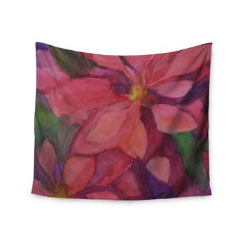 """Cyndi Steen """"Cool Poinsettias"""" Red Yellow Wall Tapestry"""
