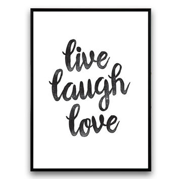 Typography quote, houosewares, Live laugh love, Motivational quote, Inspirational quote, positive quote, words of wisdom, handwritten letter