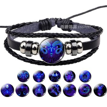 Birthday Gift 12 Zodiac Sign Bracelets Men Women Punk Woven Bracelet Constellation Bracelet Charm Jewelry