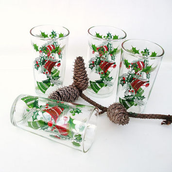 Vintage Christmas Glassware Holiday Glasses Red Green Bells Set of 4