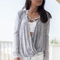 Limelight Gray Plunging Top