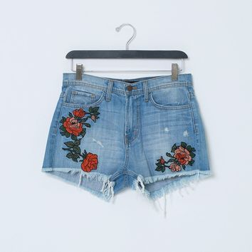 Cover By Denim Shorts With Raw Hem - Floral Embroidery