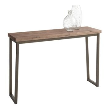 PORTFOLIO BLACK STEEL BASE WITH A SOLID WALNUT DISTRESSED FINISH TOP CONSOLE TABLE