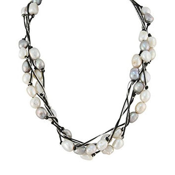 "Shimmering Multi-strand Fine Fashion Silver & Black Necklace with 6mm Freshwater Cultured Pearls 18"" Princess Length..."
