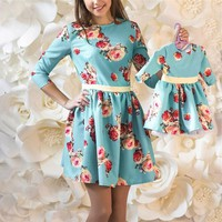 Mother Daughter floral print Dress Family Matching Outfits Fashion Mommy and Me Long Dress Family Fitted party wedding Clothing