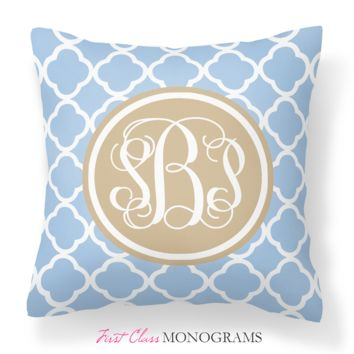 Blue & Tan Quatrefoil Monogram Throw Pillow