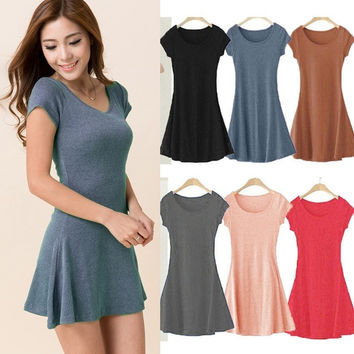 2015 New Korean Women Summer Dress Short Sleeve Candy Color One-piece Slim Basic Dresses vestidos femininos = 1714506564