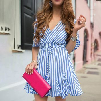 V-neck striped women dress casual High waist ruffle cotton short dresses Loose fashion ladies dresses vestidos